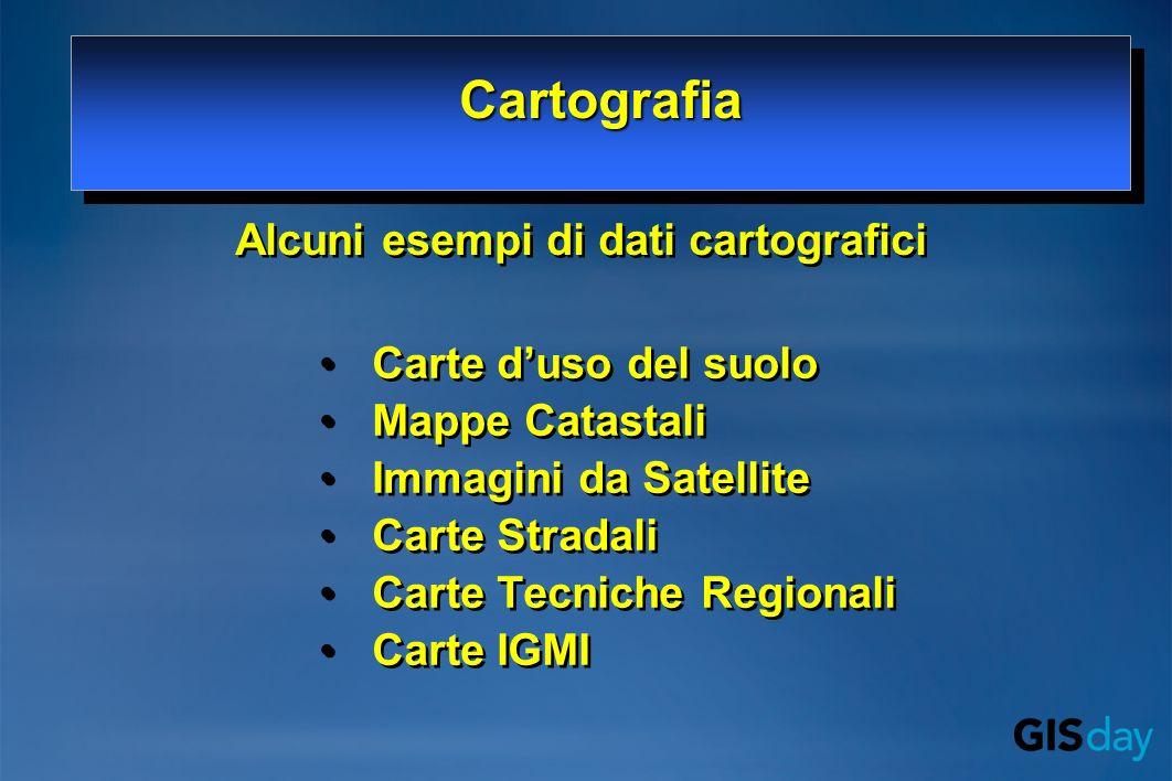Alcuni esempi di dati cartografici Carte duso del suolo Mappe Catastali Immagini da Satellite Carte Stradali Carte Tecniche Regionali Carte IGMI Carte duso del suolo Mappe Catastali Immagini da Satellite Carte Stradali Carte Tecniche Regionali Carte IGMI CartografiaCartografia