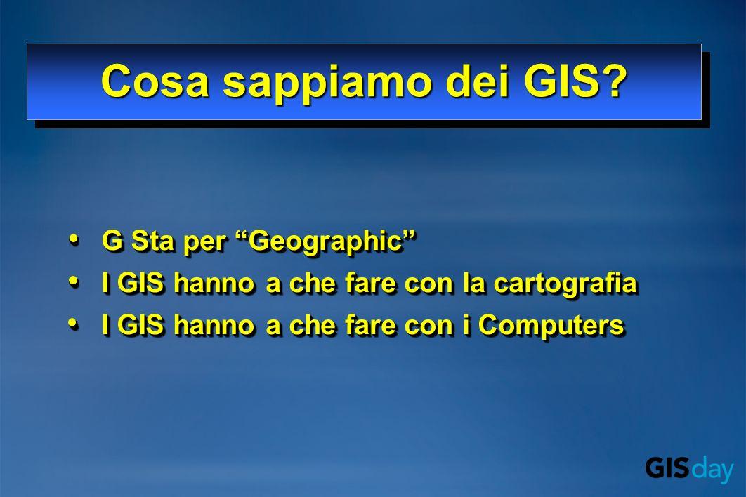 G Sta per GeographicG Sta per Geographic I GIS hanno a che fare con la cartografiaI GIS hanno a che fare con la cartografia I GIS hanno a che fare con i ComputersI GIS hanno a che fare con i Computers G Sta per GeographicG Sta per Geographic I GIS hanno a che fare con la cartografiaI GIS hanno a che fare con la cartografia I GIS hanno a che fare con i ComputersI GIS hanno a che fare con i Computers Cosa sappiamo dei GIS