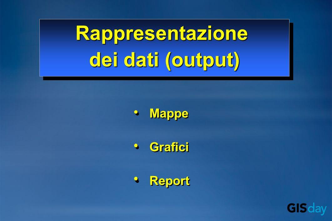 Mappe Grafici Report Mappe Grafici Report Rappresentazione dei dati (output) Rappresentazione