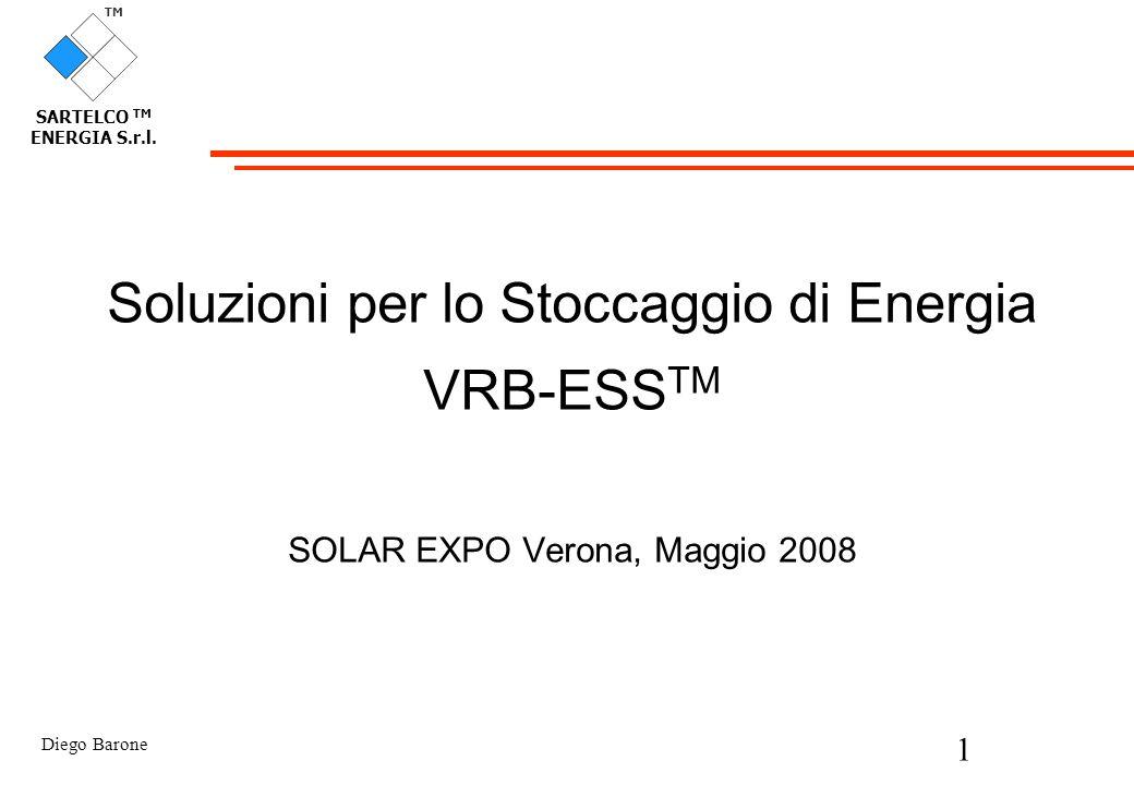 Diego Barone 1 TM SARTELCO TM ENERGIA S.r.l. Soluzioni per lo Stoccaggio di Energia VRB-ESS TM SOLAR EXPO Verona, Maggio 2008