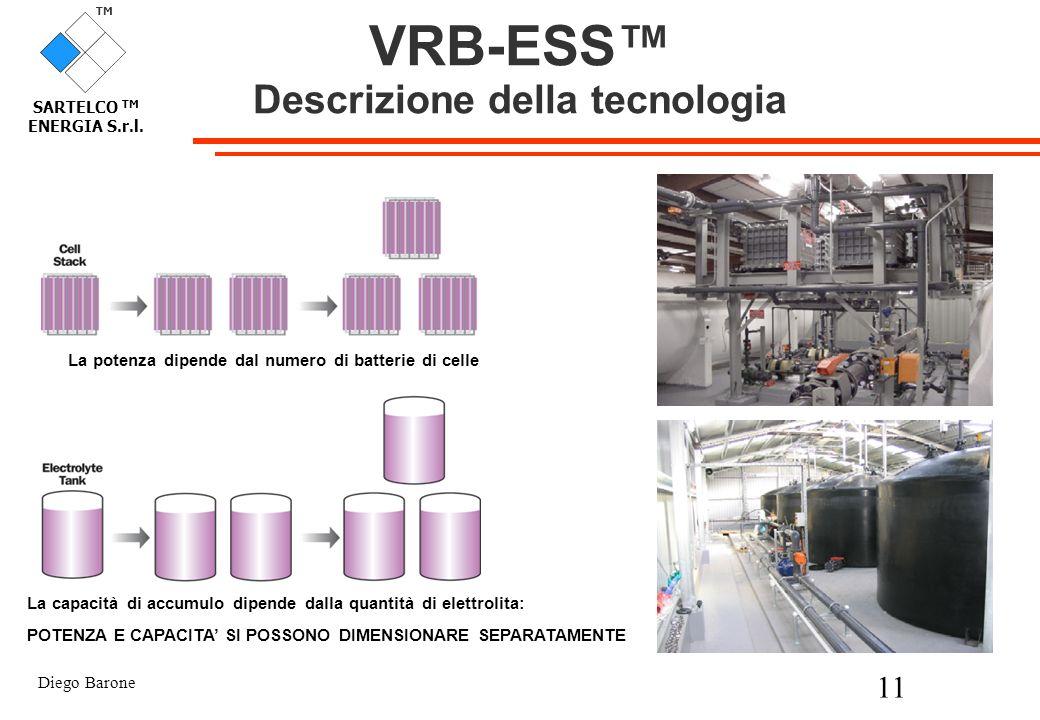 Diego Barone 11 TM SARTELCO TM ENERGIA S.r.l. La potenza dipende dal numero di batterie di celle La capacità di accumulo dipende dalla quantità di ele