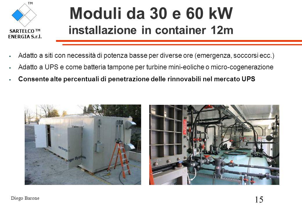 Diego Barone 15 TM SARTELCO TM ENERGIA S.r.l. Moduli da 30 e 60 kW installazione in container 12m Adatto a siti con necessità di potenza basse per div