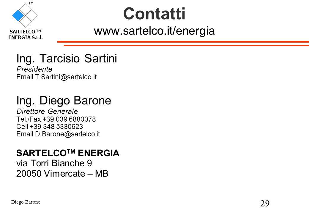 Diego Barone 29 TM SARTELCO TM ENERGIA S.r.l. Contatti www.sartelco.it/energia Ing. Tarcisio Sartini Presidente Email T.Sartini@sartelco.it Ing. Diego
