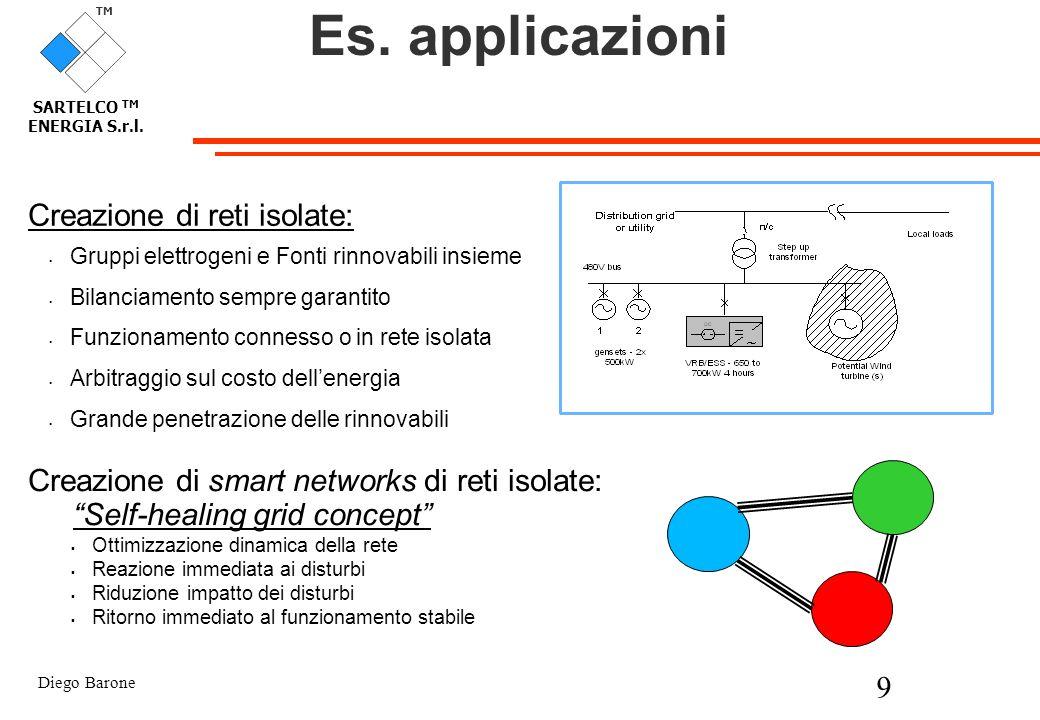 Diego Barone 9 TM SARTELCO TM ENERGIA S.r.l. Es. applicazioni Creazione di reti isolate: Gruppi elettrogeni e Fonti rinnovabili insieme Bilanciamento