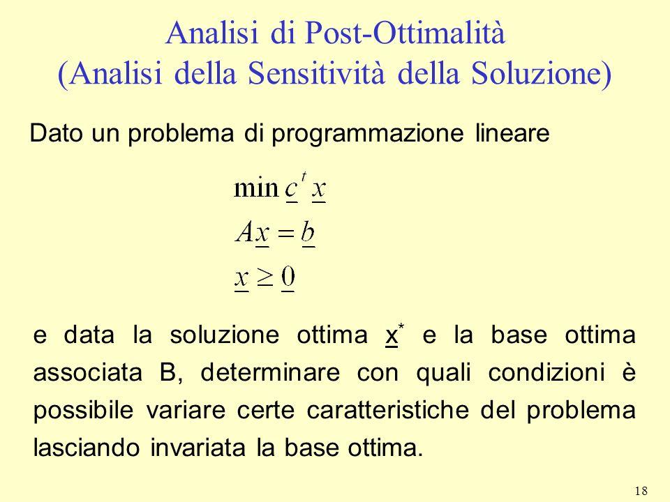 18 Analisi di Post-Ottimalità (Analisi della Sensitività della Soluzione) Dato un problema di programmazione lineare e data la soluzione ottima x * e
