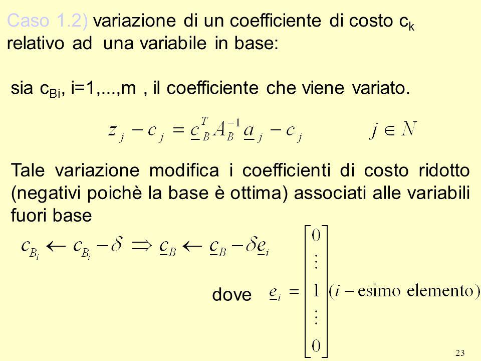 23 sia c Bi, i=1,...,m, il coefficiente che viene variato. Tale variazione modifica i coefficienti di costo ridotto (negativi poichè la base è ottima)