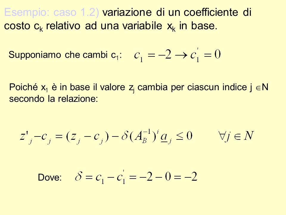 Esempio: caso 1.2) variazione di un coefficiente di costo c k relativo ad una variabile x k in base. Supponiamo che cambi c 1 : Poiché x 1 è in base i