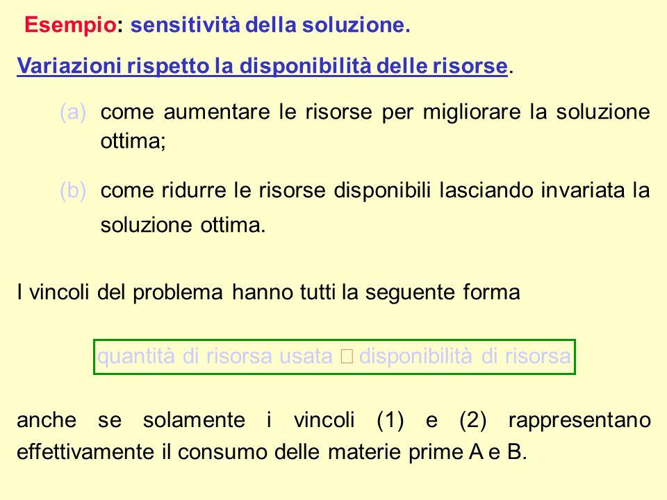 Poiché i vincoli (1) e (2) sono soddisfatti alluguaglianza dalla soluzione ottima corrispondente al punto C=(10/3,4/3), il livello ottimo di produzione per I due prodotti è tale da utilizzare tutte le materie prime disponibili.