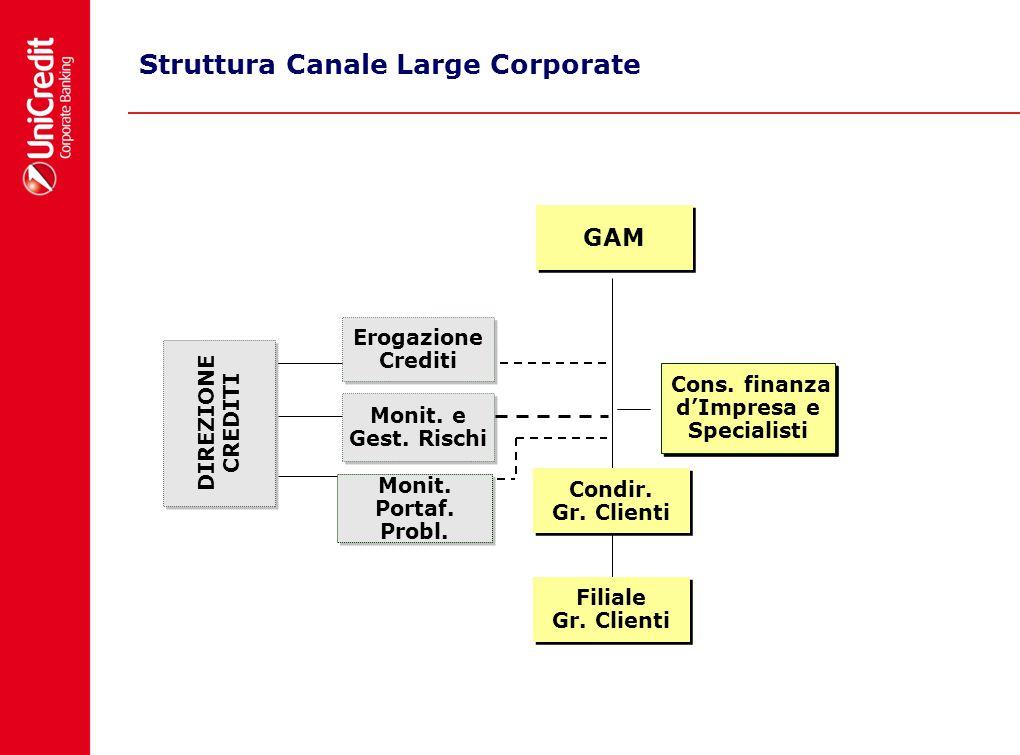 Struttura Canale Large Corporate GAM GAM DIREZIONE CREDITI Monit. e Gest. Rischi Monit. Portaf. Probl. Erogazione Crediti Erogazione Crediti Condir. G