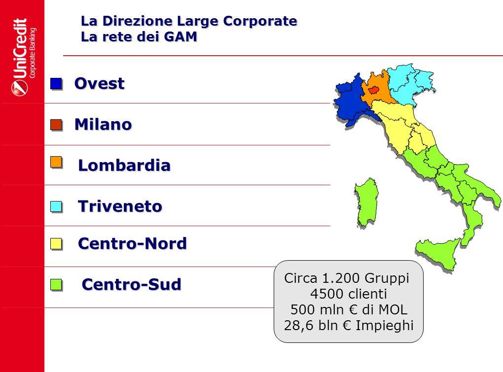 La Direzione Large Corporate La rete dei GAM Centro-Sud Centro-Nord Triveneto Lombardia Milano Ovest Circa 1.200 Gruppi 4500 clienti 500 mln di MOL 28