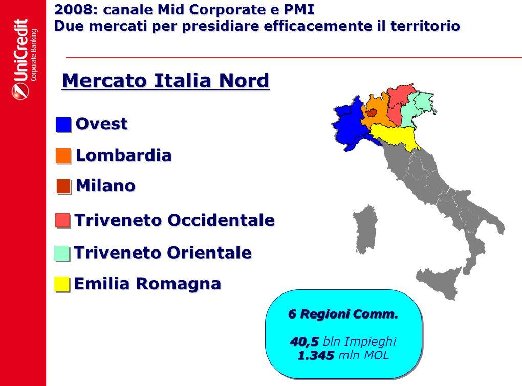 Lombardia 2008: canale Mid Corporate e PMI Due mercati per presidiare efficacemente il territorio Ovest Milano Triveneto Orientale Emilia Romagna Triv