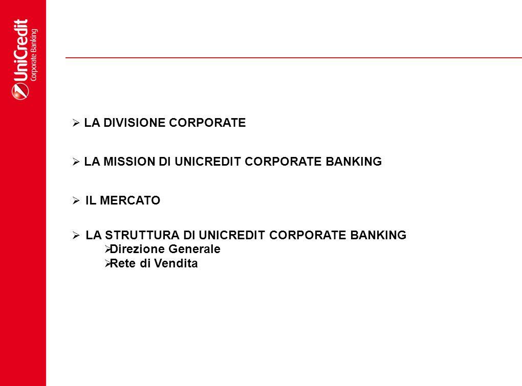 LA DIVISIONE CORPORATE LA STRUTTURA DI UNICREDIT CORPORATE BANKING Direzione Generale Rete di Vendita LA MISSION DI UNICREDIT CORPORATE BANKING IL MER