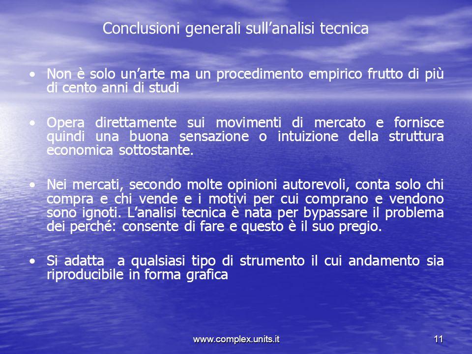 www.complex.units.it11 Conclusioni generali sullanalisi tecnica Non è solo unarte ma un procedimento empirico frutto di più di cento anni di studi Ope