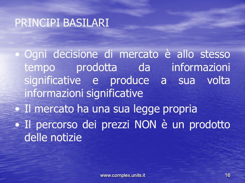 www.complex.units.it16 PRINCIPI BASILARI Ogni decisione di mercato è allo stesso tempo prodotta da informazioni significative e produce a sua volta in