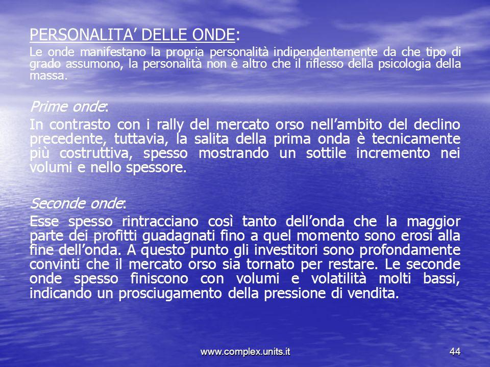 www.complex.units.it44 PERSONALITA DELLE ONDE: Le onde manifestano la propria personalità indipendentemente da che tipo di grado assumono, la personal