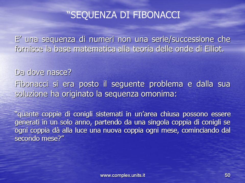 www.complex.units.it50 SEQUENZA DI FIBONACCI E una sequenza di numeri non una serie/successione che fornisce la base matematica alla teoria delle onde