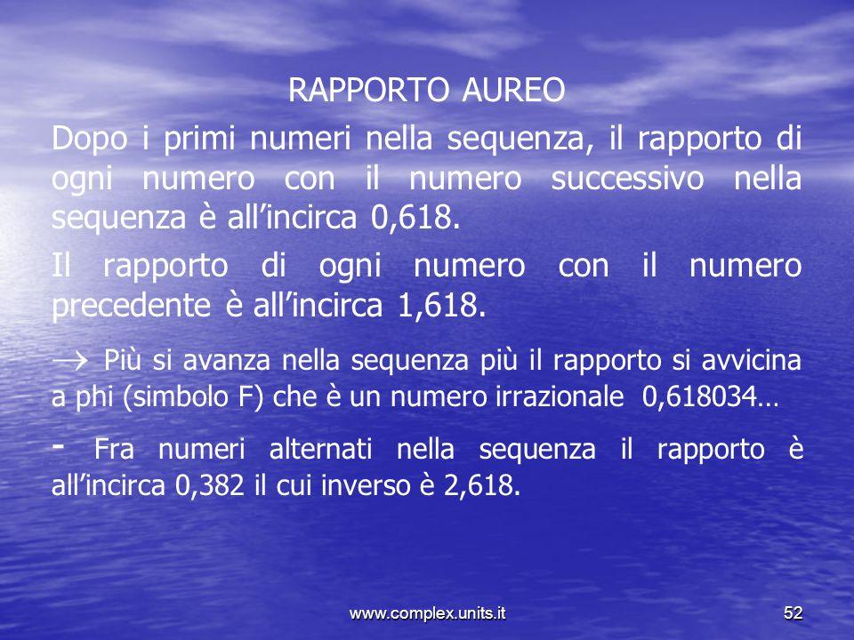 www.complex.units.it52 RAPPORTO AUREO Dopo i primi numeri nella sequenza, il rapporto di ogni numero con il numero successivo nella sequenza è allinci