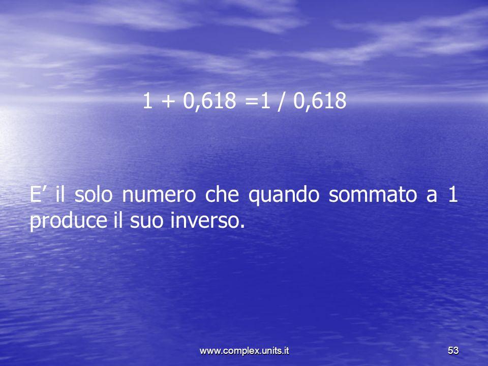 www.complex.units.it53 1 + 0,618 =1 / 0,618 E il solo numero che quando sommato a 1 produce il suo inverso.