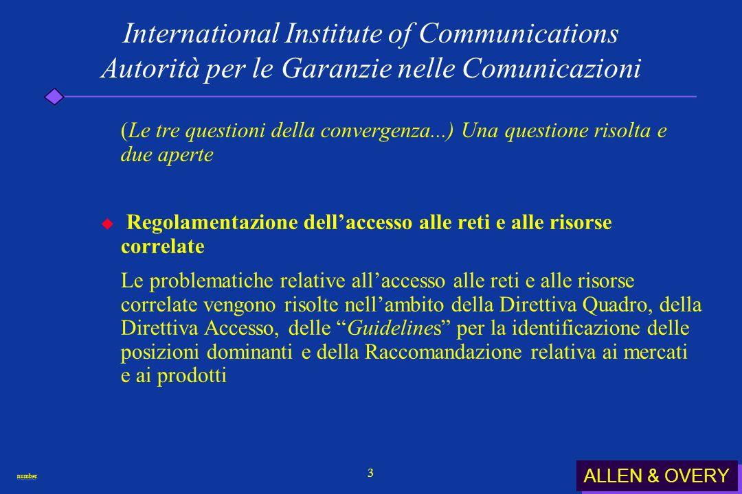ALLEN & OVERY numbernumber 24 International Institute of Communications Autorità per le Garanzie nelle Comunicazioni Revisione della Direttiva TV senza frontiere.