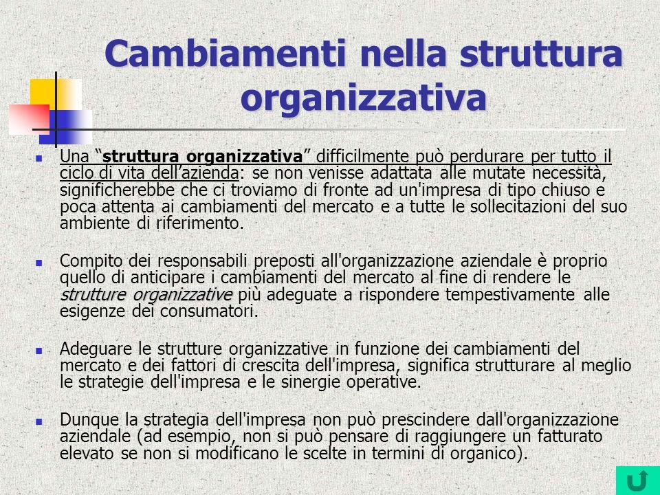 Cambiamenti nella struttura organizzativa Una struttura organizzativa difficilmente può perdurare per tutto il ciclo di vita dellazienda: se non venis