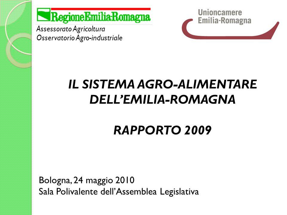 Assessorato Agricoltura Osservatorio Agro-industriale Bologna, 24 maggio 2010 Sala Polivalente dellAssemblea Legislativa IL SISTEMA AGRO-ALIMENTARE DELLEMILIA-ROMAGNA RAPPORTO 2009