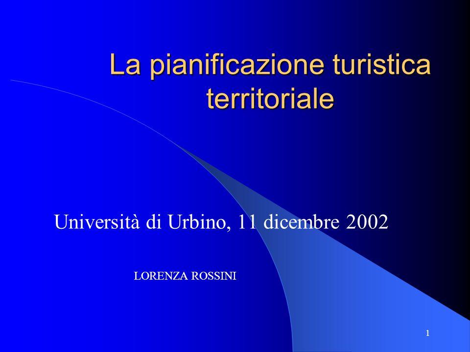 1 La pianificazione turistica territoriale Università di Urbino, 11 dicembre 2002 LORENZA ROSSINI