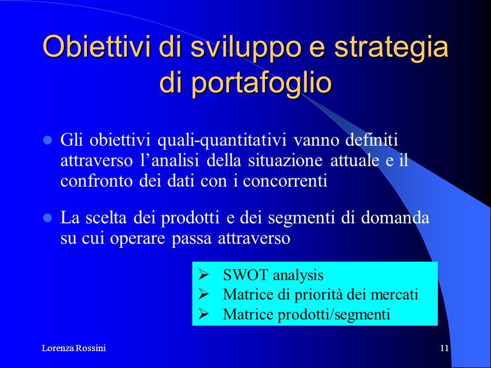 Lorenza Rossini11 Obiettivi di sviluppo e strategia di portafoglio Gli obiettivi quali-quantitativi vanno definiti attraverso lanalisi della situazion