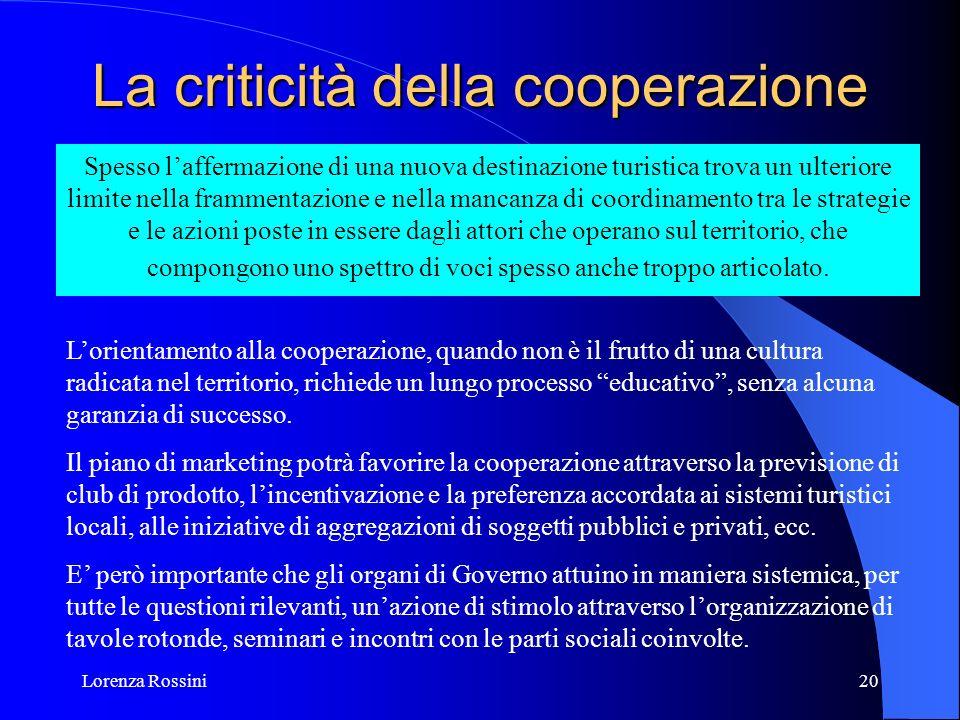 Lorenza Rossini20 La criticità della cooperazione Spesso laffermazione di una nuova destinazione turistica trova un ulteriore limite nella frammentazi