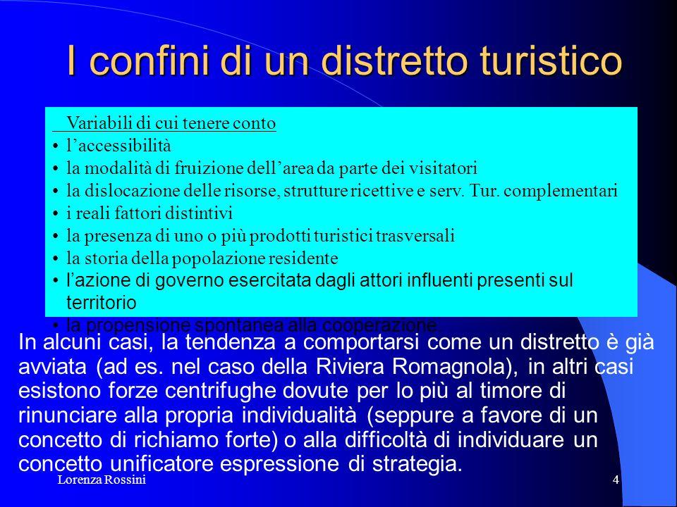 Lorenza Rossini4 I confini di un distretto turistico In alcuni casi, la tendenza a comportarsi come un distretto è già avviata (ad es. nel caso della