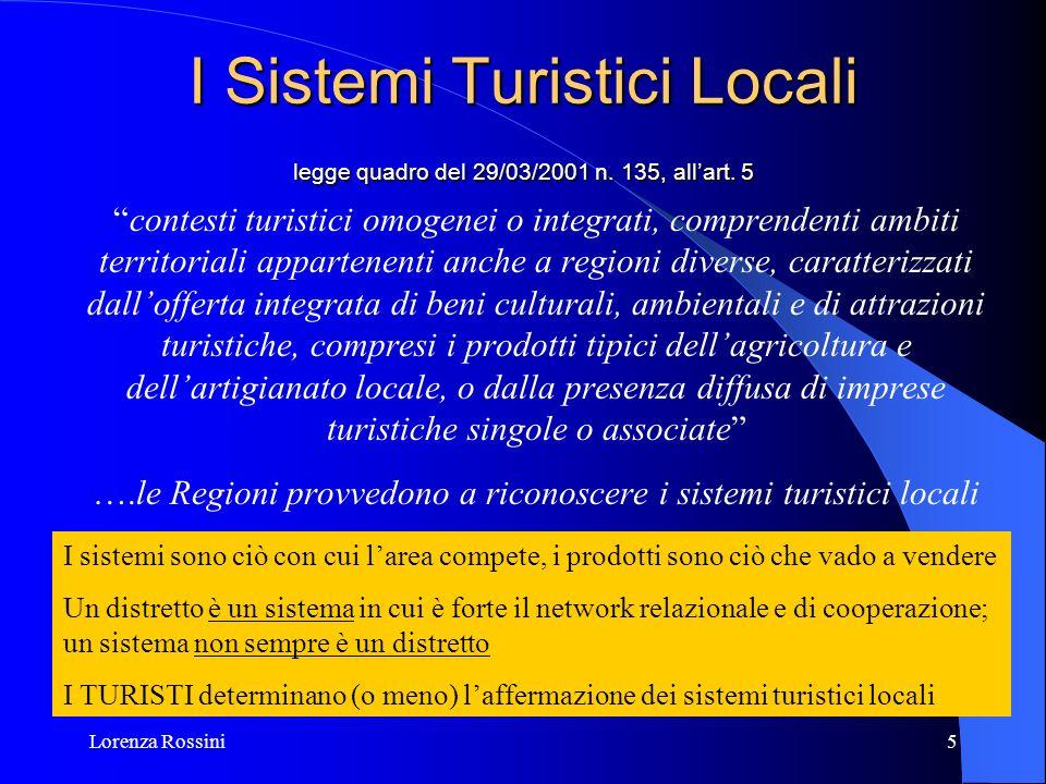 Lorenza Rossini5 I Sistemi Turistici Locali legge quadro del 29/03/2001 n. 135, allart. 5 contesti turistici omogenei o integrati, comprendenti ambiti