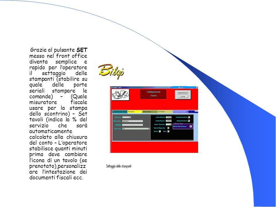 Grazie al pulsante SET messo nel front office diventa semplice e rapido per loperatore il settaggio delle stampanti (stabilire su quale delle porte se