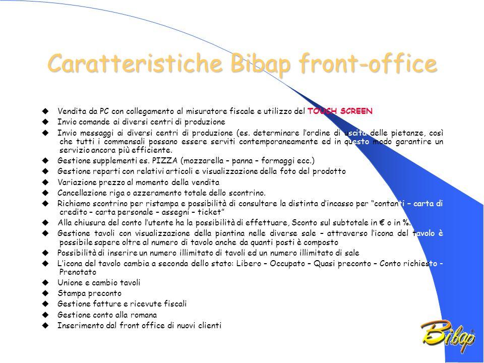 Caratteristiche Bibap front-office Vendita da PC con collegamento al misuratore fiscale e utilizzo del TOUCH SCREEN Invio comande ai diversi centri di produzione Invio messaggi ai diversi centri di produzione (es.
