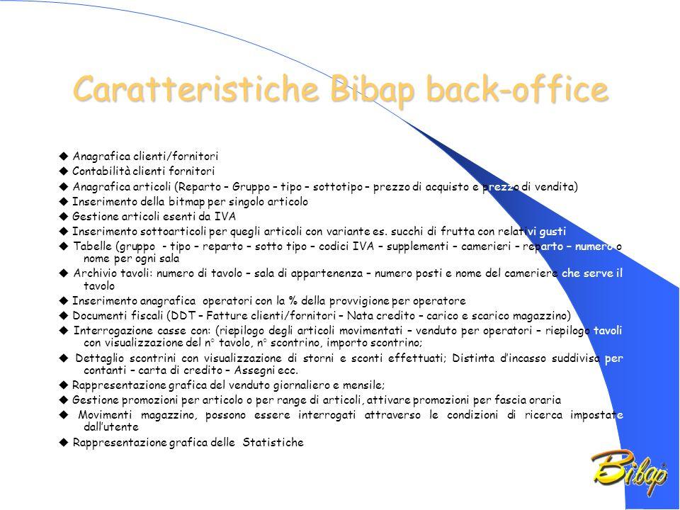 Caratteristiche Bibap back-office Anagrafica clienti/fornitori Contabilità clienti fornitori Anagrafica articoli (Reparto – Gruppo – tipo – sottotipo