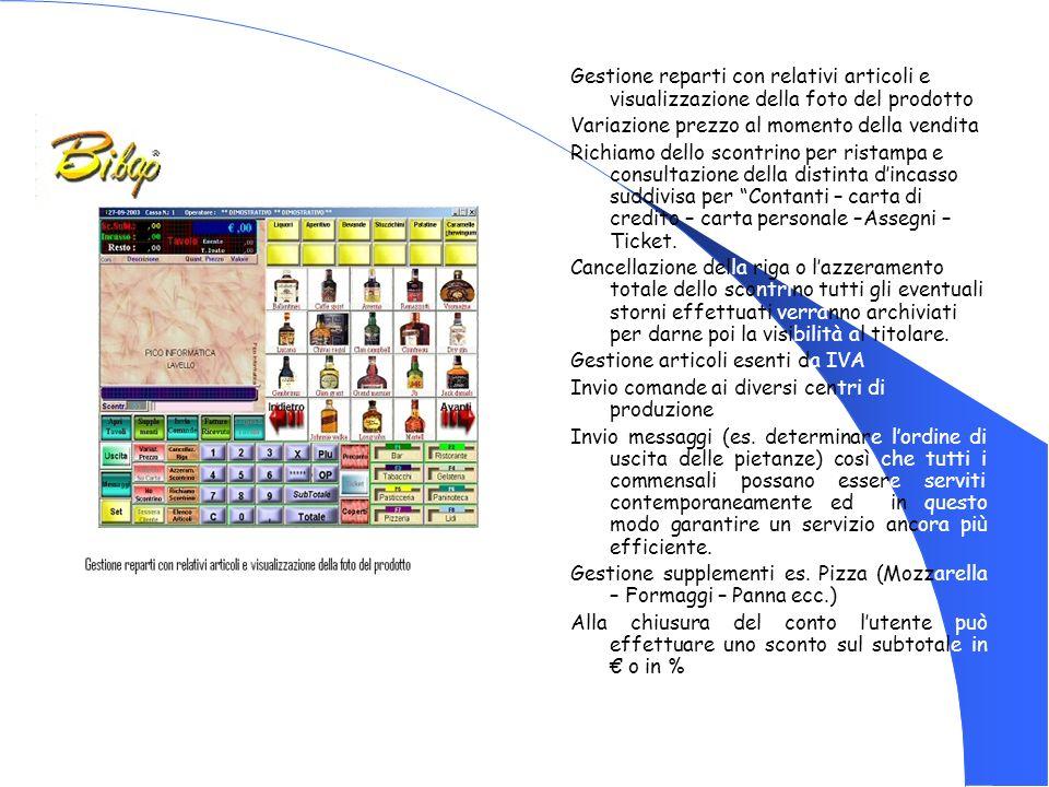 Gestione reparti con relativi articoli e visualizzazione della foto del prodotto Variazione prezzo al momento della vendita Richiamo dello scontrino p