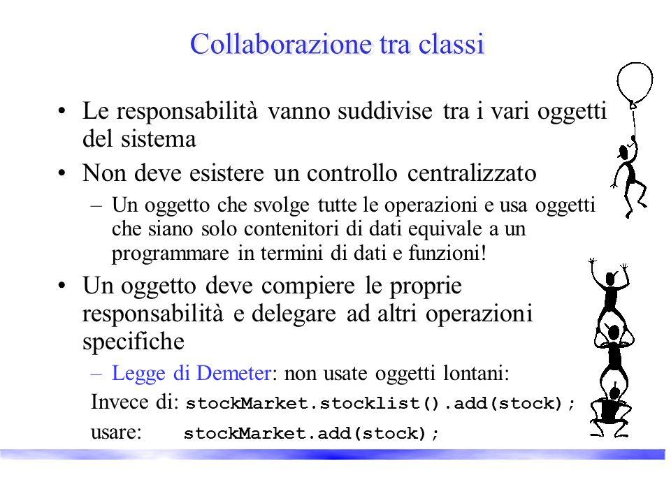 Collaborazione tra classi Le responsabilità vanno suddivise tra i vari oggetti del sistema Non deve esistere un controllo centralizzato –Un oggetto ch