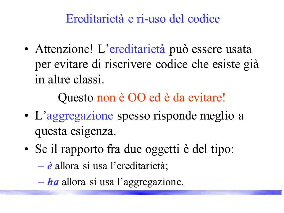 Ereditarietà e ri-uso del codice Attenzione! Lereditarietà può essere usata per evitare di riscrivere codice che esiste già in altre classi. Questo no