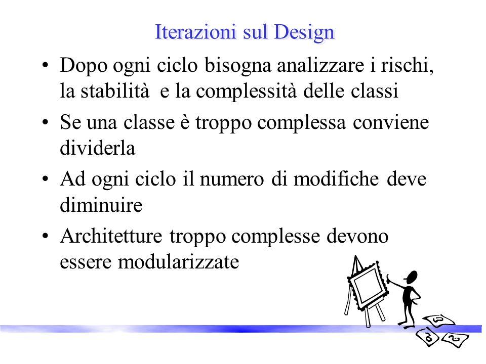 Iterazioni sul Design Dopo ogni ciclo bisogna analizzare i rischi, la stabilità e la complessità delle classi Se una classe è troppo complessa conviene dividerla Ad ogni ciclo il numero di modifiche deve diminuire Architetture troppo complesse devono essere modularizzate