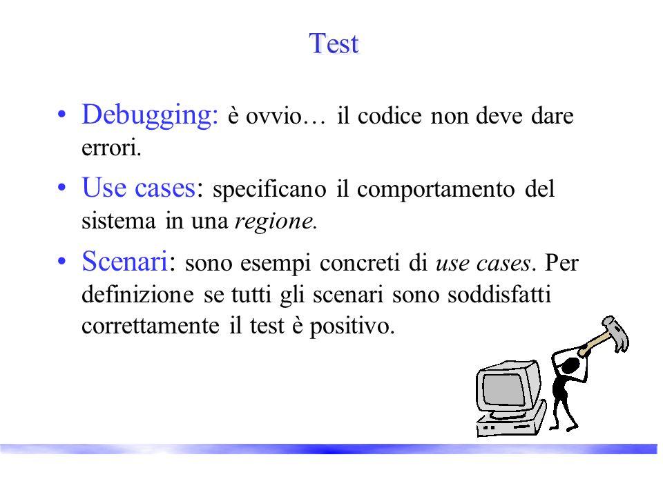 Test Debugging: è ovvio… il codice non deve dare errori. Use cases: specificano il comportamento del sistema in una regione. Scenari: sono esempi conc