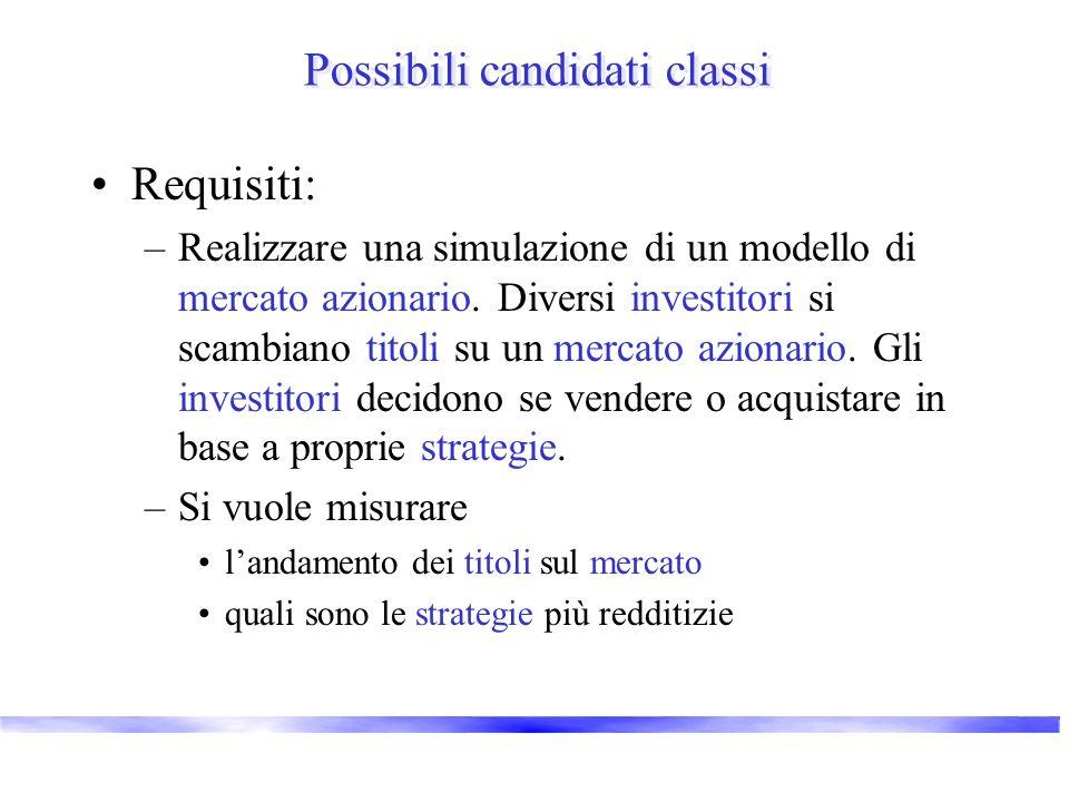 Possibili candidati classi Requisiti: –Realizzare una simulazione di un modello di mercato azionario. Diversi investitori si scambiano titoli su un me