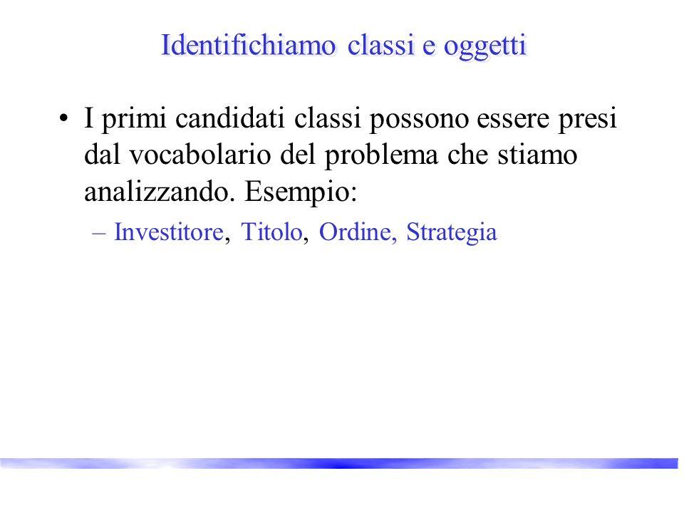Identifichiamo classi e oggetti I primi candidati classi possono essere presi dal vocabolario del problema che stiamo analizzando. Esempio: –Investito