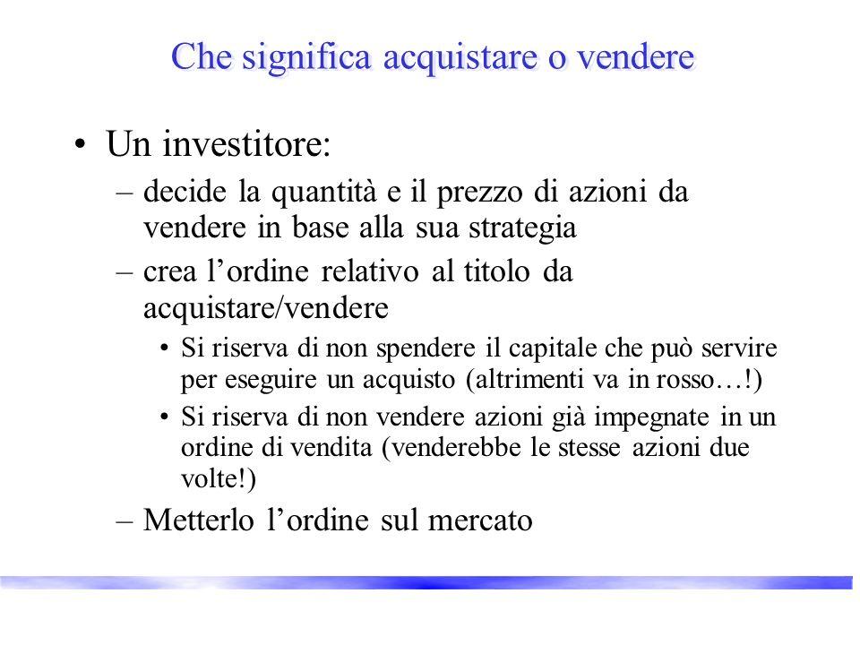 Che significa acquistare o vendere Un investitore: –decide la quantità e il prezzo di azioni da vendere in base alla sua strategia –crea lordine relat