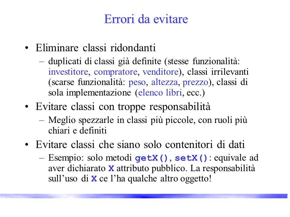 Errori da evitare Eliminare classi ridondanti –duplicati di classi già definite (stesse funzionalità: investitore, compratore, venditore), classi irri