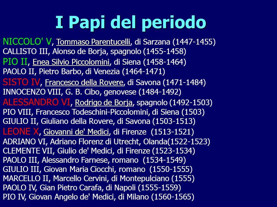 NICCOLO V, Tommaso Parentucelli, di Sarzana (1447-1455) CALLISTO III, Alonso de Borja, spagnolo (1455-1458) PIO II, Enea Silvio Piccolomini, di Siena (1458-1464) PAOLO II, Pietro Barbo, di Venezia (1464-1471) SISTO IV, Francesco della Rovere, di Savona (1471-1484) INNOCENZO VIII, G.