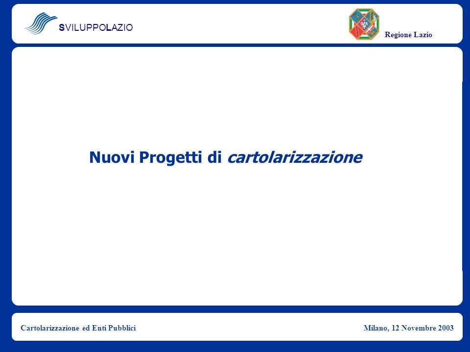 SVILUPPOLAZIO Regione Lazio Cartolarizzazione ed Enti PubbliciMilano, 12 Novembre 2003 Nuovi Progetti di cartolarizzazione