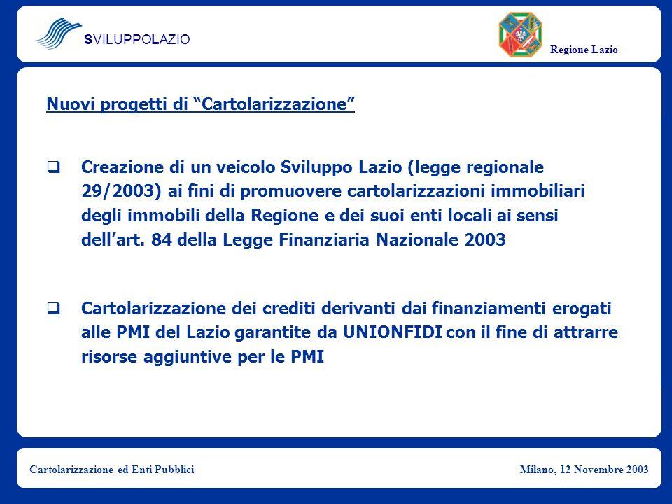 SVILUPPOLAZIO Regione Lazio Cartolarizzazione ed Enti PubbliciMilano, 12 Novembre 2003 Creazione di un veicolo Sviluppo Lazio (legge regionale 29/2003