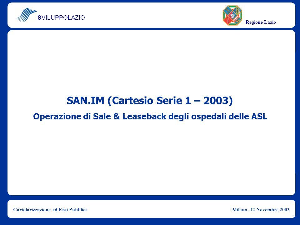 SVILUPPOLAZIO Regione Lazio Cartolarizzazione ed Enti PubbliciMilano, 12 Novembre 2003 SAN.IM (Cartesio Serie 1 – 2003) Operazione di Sale & Leaseback