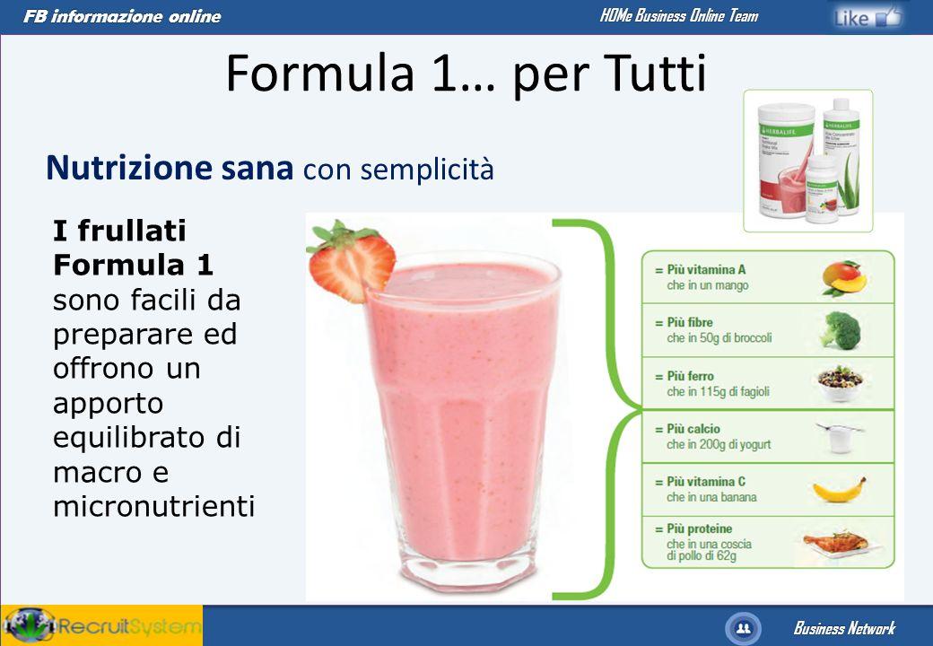 FB informazione online Business Network HOMe Business Online Team Nutrizione sana con semplicità I frullati Formula 1 sono facili da preparare ed offr