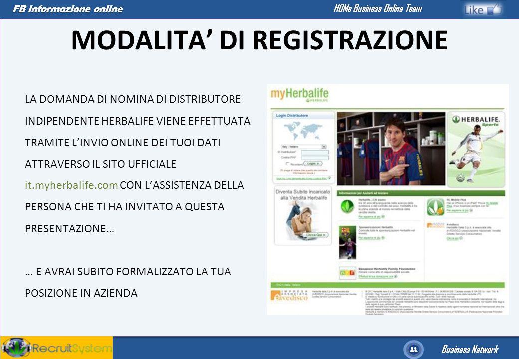 FB informazione online Business Network HOMe Business Online Team MODALITA DI REGISTRAZIONE LA DOMANDA DI NOMINA DI DISTRIBUTORE INDIPENDENTE HERBALIF
