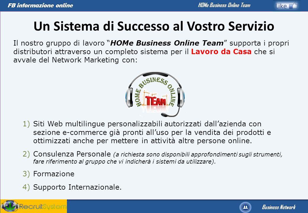 FB informazione online Business Network HOMe Business Online Team Un Sistema di Successo al Vostro Servizio Il nostro gruppo di lavoro HOMe Business O