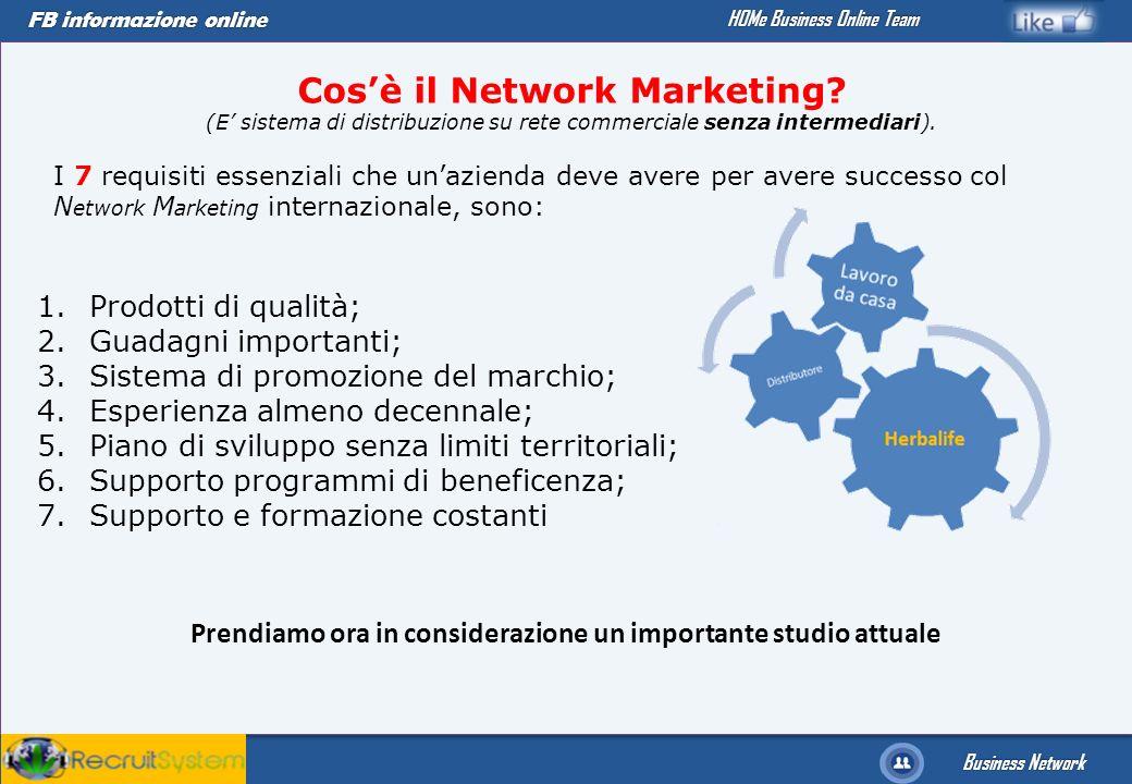 FB informazione online Business Network HOMe Business Online Team Cosè il Network Marketing? (E sistema di distribuzione su rete commerciale senza int